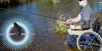 Corporal Frustaglio fly-fishing from his wheelchair